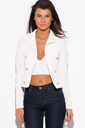 $15 - Cute cheap floral jacket - white golden button military style open blazer jacket