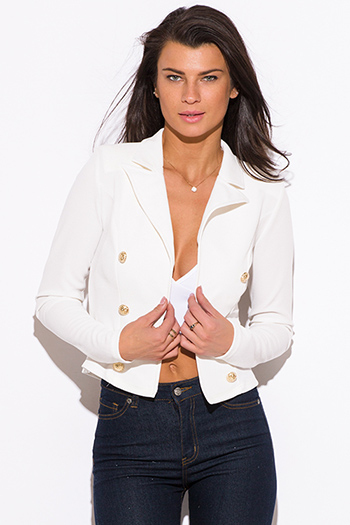 $15 - Cute cheap black collar mustard yellow blazer jacket 66327 - white golden button military style open blazer jacket