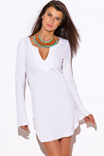 $20 - Cute cheap clothes - white Indian collar boho beach cover up tunic top mini dress