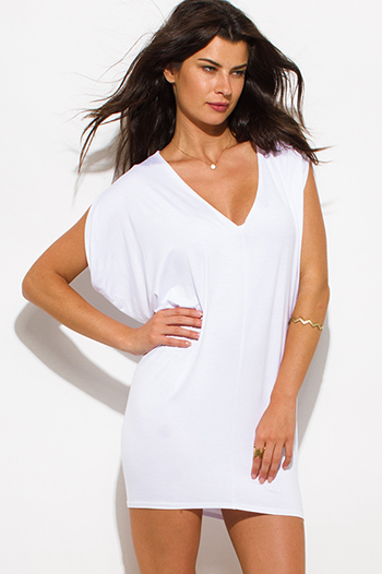 $10 - Cute cheap white mini dress - white jersey dolman sleeve low v neck tunic top mini dress