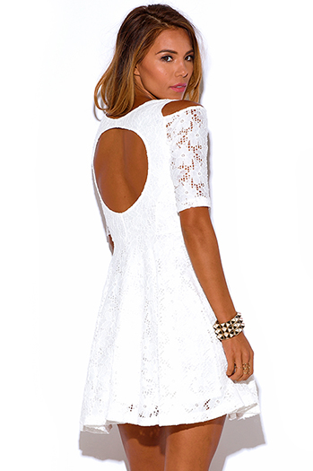 $30 - Cute cheap cold shoulder dress - white lace cold shoulder a line cut out backless quarter sleeves skater sexy party mini dress