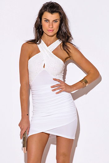 $15 - Cute cheap lace fitted party dress - white lace criss cross ruched bodycon fitted sexy club mini dress