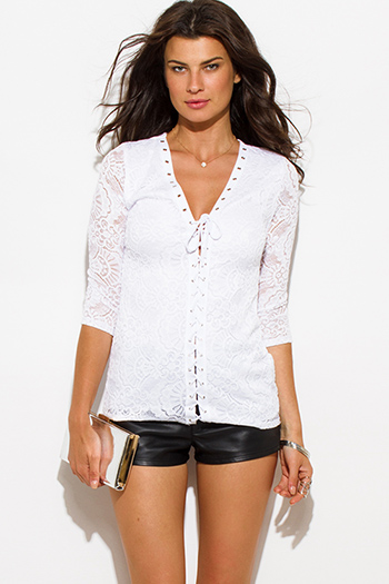 $20 - Cute cheap white ripped skinny jeans.html - white lace eyelet laceup trim quarter sleeve blouse top