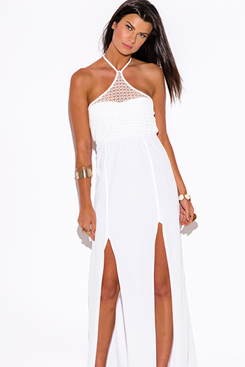 $15 - Cute cheap white dress - white lace halter double slit summer jersey maxi sun dress