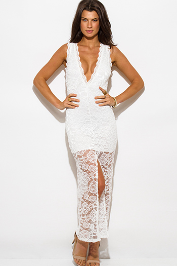 $20 - Cute cheap blue chiffon slit dress - white lace overlay sleeveless deep v neck high slit bodycon evening sexy party maxi dress
