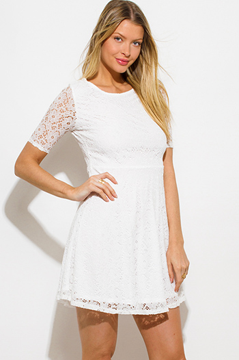 $15 - Cute cheap backless long sleeve open back mini dress - white lace short sleeve boho a line skater mini sun dress