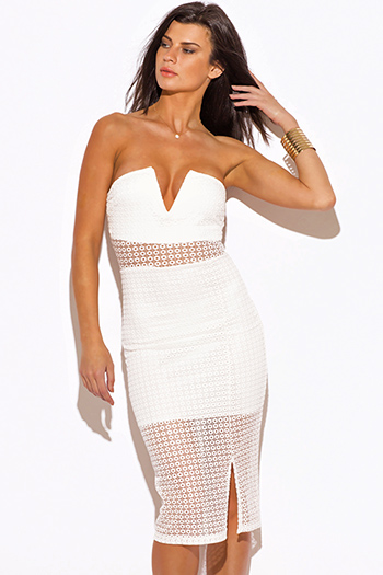 $20 - Cute cheap lace dress - white lace side slit v neck sweetheart strapless fitted cocktail party sexy clubbing midi dress