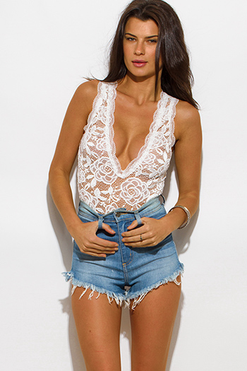 $15 - Cute cheap blue sheer sexy club bodysuit - white sheer lace v neck scallop trim sleeveless clubbing bodysuit top