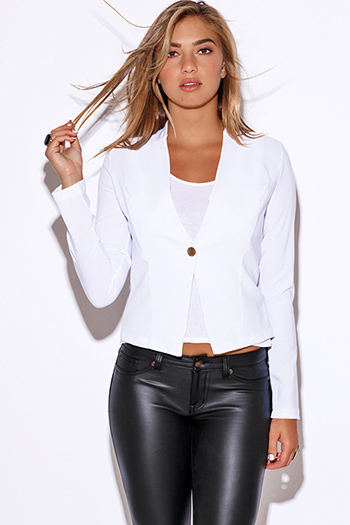$20 - Cute cheap cute juniors fitted career blazer jacket 55345 - white long sleeve fitted collarless suiting blazer