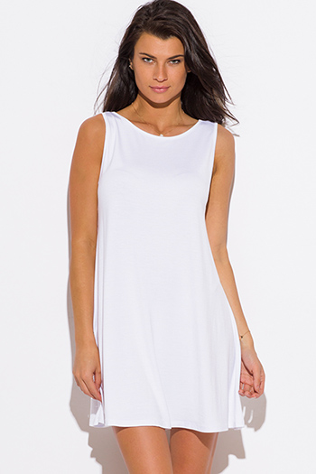 $15 - Cute cheap color gold dress - white loose fit swing tunic tank mini dress