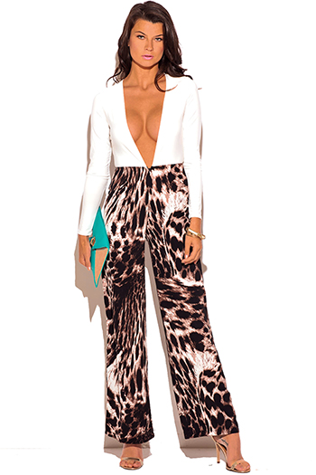 $12 - Cute cheap animal print evening jumpsuit - white low v neck animal print wide leg 2fer evening sexy party jumpsuit