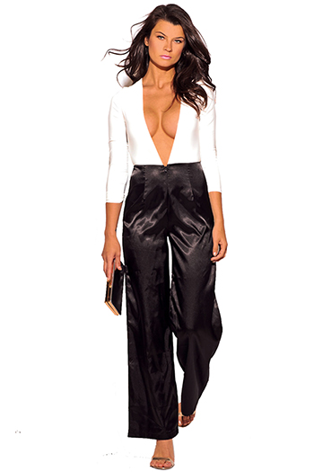 $12 - Cute cheap black v neck sexy party jumpsuit - white low v neck black satin wide leg 2fer evening party jumpsuit