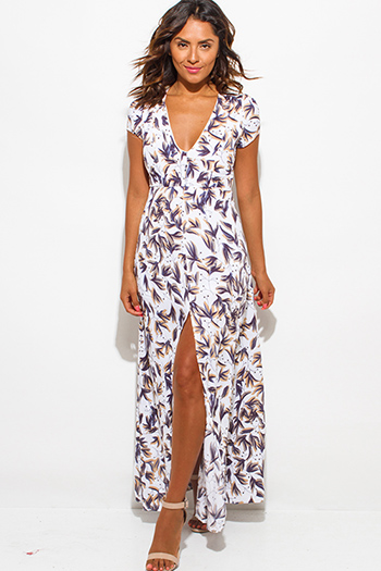 $20 - Cute cheap clothes - white navy blue floral leaf print v neck high slit cap sleeve maxi sexy party sun dress