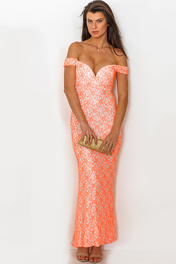 $35 - Cute cheap white slit sexy party maxi dress - white neon orange lace sweetheart v neck off shoulder formal evening party maxi dress