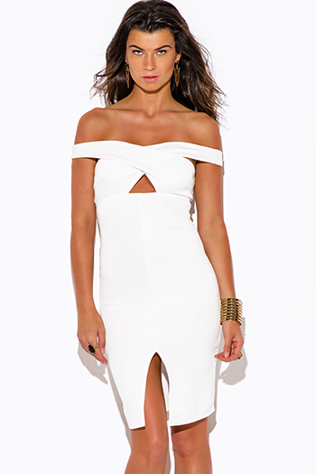 $15 - Cute cheap white dress - white off shoulder cut out slit pencil cocktail party bodycon fitted sexy clubbing midi dress