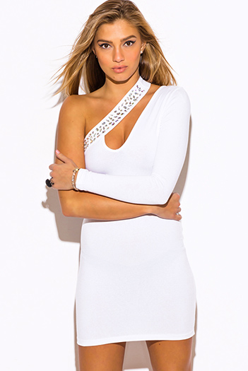 $20 - Cute cheap one shoulder sexy club mini dress - white one shoulder bejeweled cut out v neck long sleeve bodycon fitted club mini dress