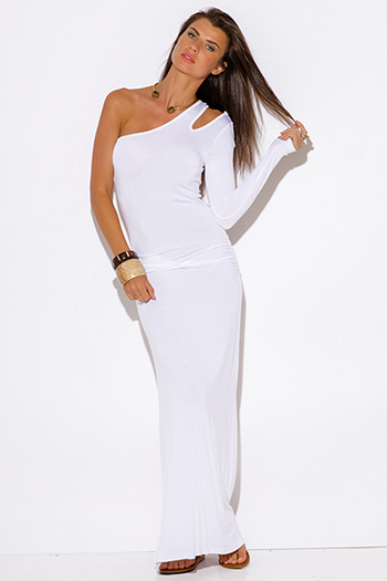 $20 - Cute cheap fitted maxi dress - white one shoulder cut out sleeve ruched fitted summer maxi dress