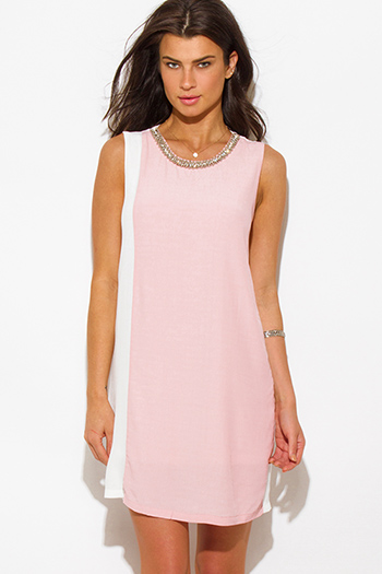 $15 - Cute cheap summer dress - white pink color block crepe bejeweled cocktail sexy party shift mini dress