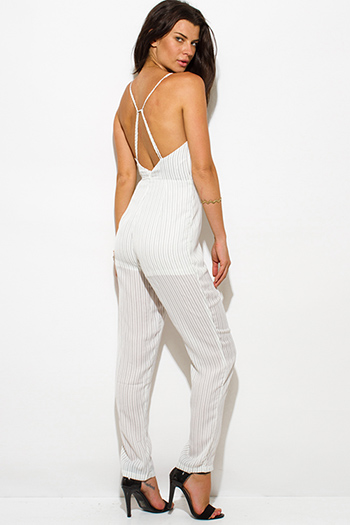 $15 - Cute cheap open back wrap catsuit - white pinstripe front faux wrap v neck cross strap open back evening sexy party skinny jumpsuit