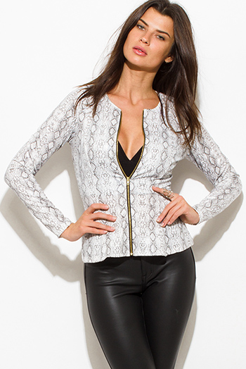 $15 - Cute cheap olive green military long sleeve zip up pocketed puff bomber jacket - white python snake animal print faux leather long sleeve zip up peplum jacket top