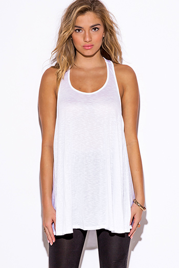$15 - Cute cheap white dress - white racer back slub jersey tank top tunic mini dress