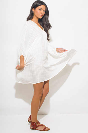 $20 - Cute cheap gray cotton mini dress - white rayon gauze butterfly sleeve boho beach cover up tunic mini dress kaftan