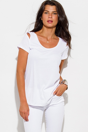 $10 - Cute cheap ribbed slit top - white ribbed knit cut out shoulder scoop neck short sleeve tee shirt top