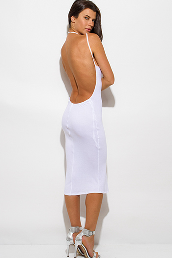 $15 - Cute cheap ribbed sexy party midi dress - white ribbed knit jersey strappy halter backless party midi dress