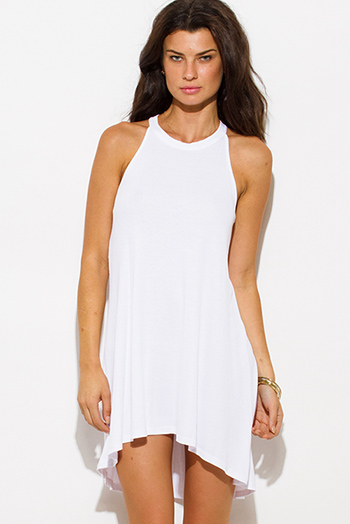 $15 - Cute cheap white mini dress - white ribbed knit sleeveless halter keyhole racer back tunic top mini dress