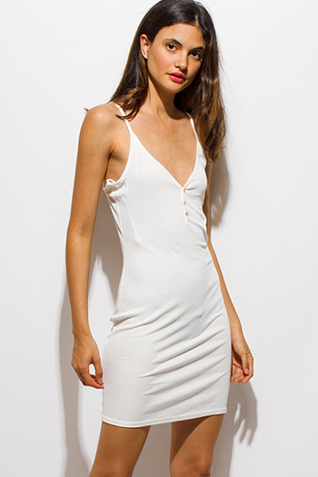 $10 - Cute cheap v neck fitted midi dress - white ribbed knit v neck golden button spaghetti strap open back mini slip dress