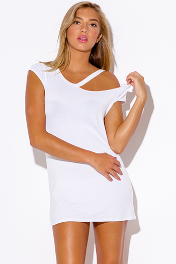 $15 - Cute cheap white boho maxi dress - white ripped cut out neckline boyfriend tee shirt tunic mini dress