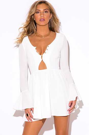$25 - Cute cheap white dress - white ruffle long bell sleeve v neck a line cocktail party sexy club mini dress