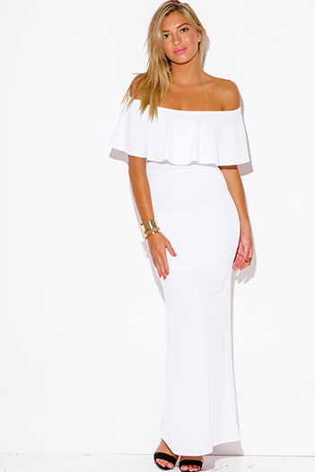 $20 - Cute cheap maxi dress - white ruffle off shoulder formal evening sexy party maxi dress