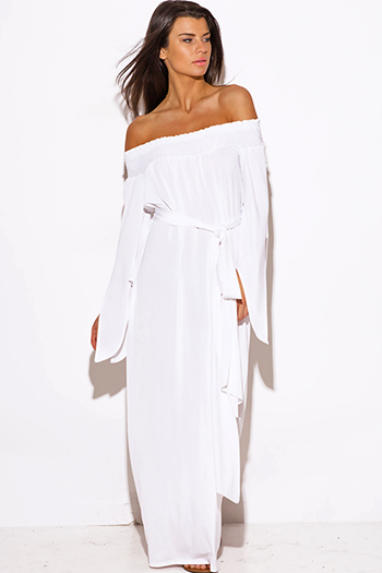 $25 - Cute cheap white sashed smocked off shoulder long sleeve formal evening sexy party maxi dress