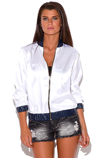 $10 - Cute cheap white satin faux leather trim zip up long sleeve bomber jacket top