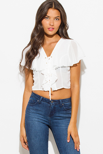 $7 - Cute cheap white fishnet mesh crop top shorts sexy clubbing set - white semi sheer chiffon v neck ruffled tiered laceup boho party crop blouse top