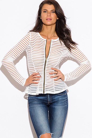 $15 - Cute cheap white ruffle sheer top - white semi sheer stripe mesh fitted zip up jacket top