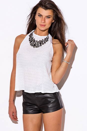 $15 - Cute cheap white sexy party top - white sequined cut out racer back swing tank party top
