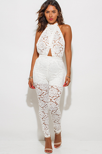 $25 - Cute cheap jumpsuit for women.html - white sheer lace faux wrap halter backless catsuit jumpsuit