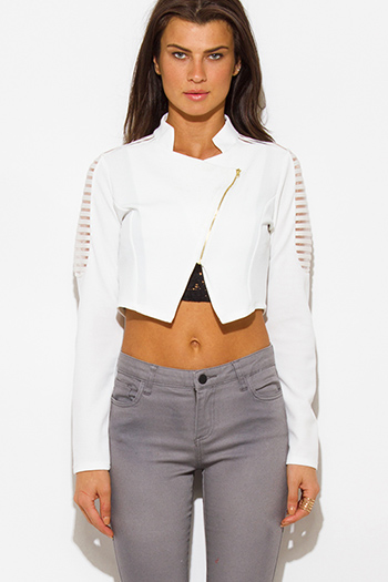 $15 - Cute cheap white chiffon contrast long sleeve military zip up bomber jacket top - white sheer stripe mesh contrast asymmetrical zip up blazer jacket crop top