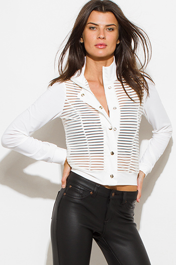 $20 - Cute cheap caramel brown faux leather ribbed bomber moto jacket - white sheer stripe mesh contrast long sleeve high neck snap button up moto jacket