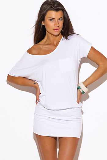 $15 - Cute cheap pocketed fitted tunic dress - white short sleeve banded tunic mini dress