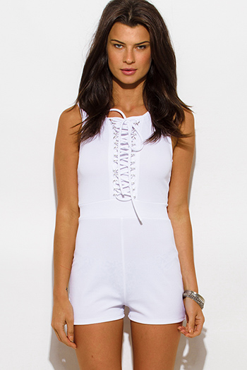 $20 - Cute cheap fitted sexy club jumpsuit - white sleeveless laceup fitted bodycon clubbing romper jumpsuit