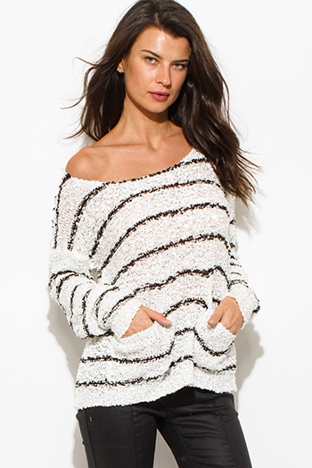 $15 - Cute cheap white stripe sequined off shoulder pocketed long sleeve crochet sweater knit top
