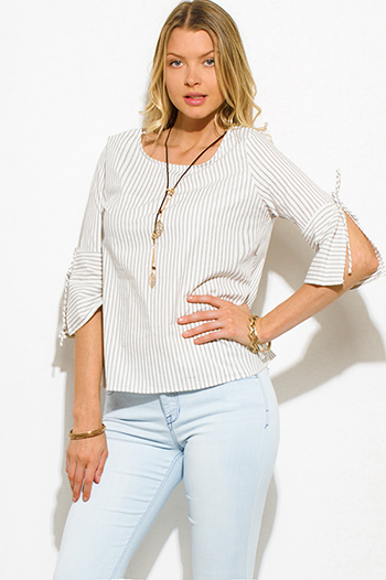 $15 - Cute cheap khaki blouse - beige white striped cotton quarter slit bell sleeve necklace blouse top