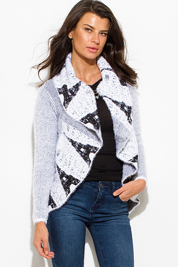 $20 - Cute cheap print top - white textured graphic print open front embellished cocoon fuzzy knit sweater cardigan top