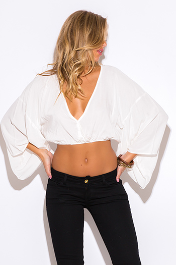 $20 - Cute cheap coral mesh inset sexy party crop top - white v neck boho kimono sleeve party crop top