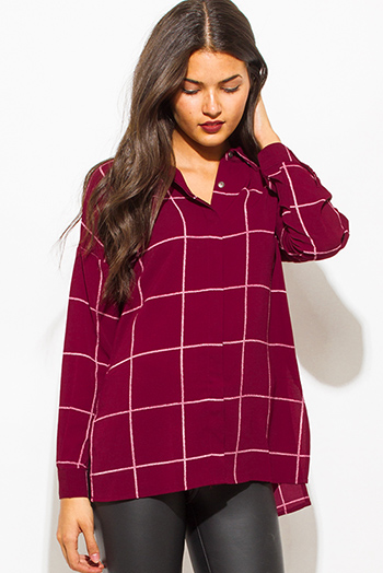 $15 - Cute cheap long sleeve sexy club catsuit - wine burgundy red checker grid print button up long sleeve boho blouse top