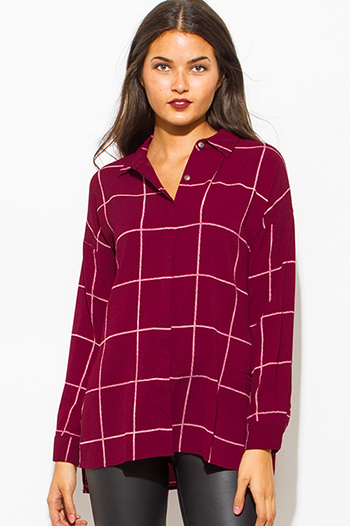 $12 - Cute cheap crepe top - wine burgundy red checker grid print button up long sleeve boho blouse top