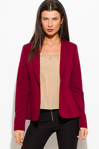 $15 - Cute cheap red mesh top - wine burgundy red classic button close suiting blazer top